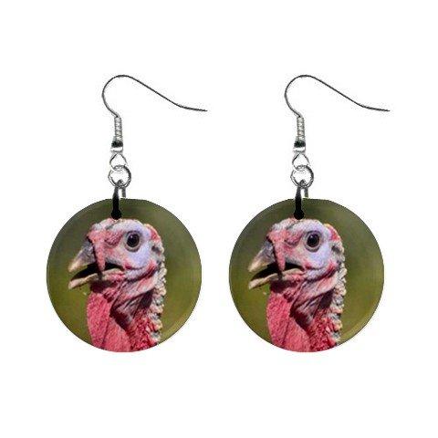 Live Turkey Dangle Earrings Jewelry 1 inch Buttons 12345401