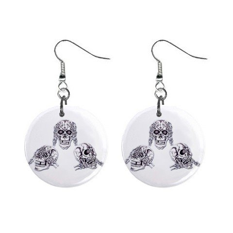 No Evil Skulls Dangle Earrings Jewelry 1 inch Buttons 12479609