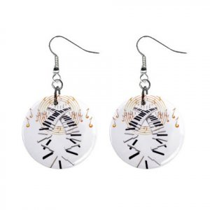 Piano Music Dangle Earrings Jewelry 1 inch Buttons 12479611
