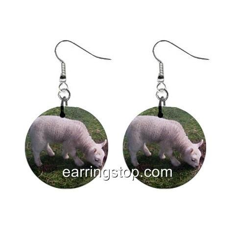 Lamb Sheep  Dangle Earrings Jewelry 1 inch Buttons 12345387