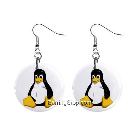 Cartoon Penguin Dangle Earrings Jewelry 1 inch Buttons 12418565