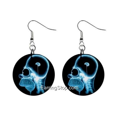 Homer Simpson Brain Xray Dangle Earrings Jewelry 1 inch Buttons 12418560