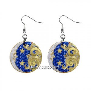 Moon and Stars Dangle Earrings Jewelry 1 inch Buttons 12409520