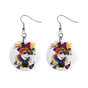 Jester Lady Dangle Earrings Jewelry 1 inch Buttons 12310670
