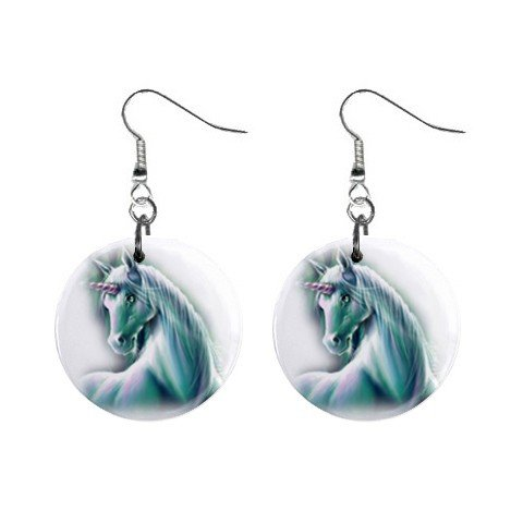 Misted Unicorn Dangle Earrings Jewelry 1 inch Buttons 12310673