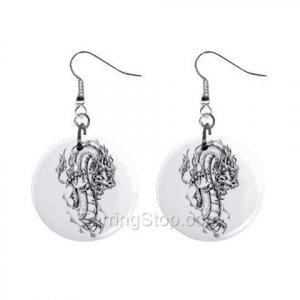 Dragon Skull  Dangle Earrings Jewelry 1 inch Buttons 12479628