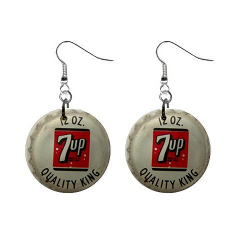 7 Up Cap  Dangle Earrings Jewelry 1 inch Buttons 12479709