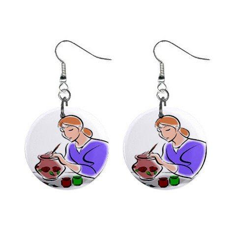 Pottery Potter #2 Dangle Earrings Jewelry 1 inch Buttons 12619682