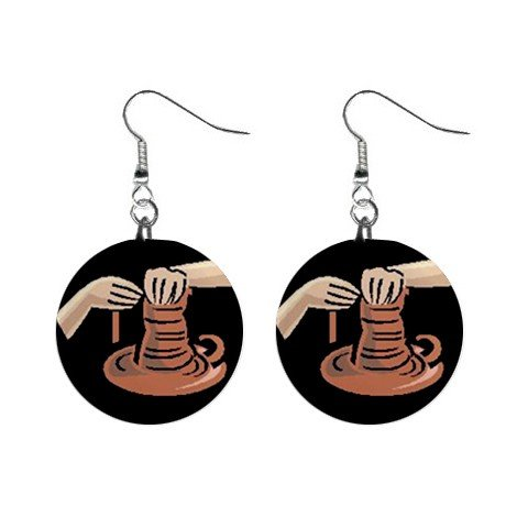 Pottery Potter #1 Dangle Earrings Jewelry 1 inch Buttons 12619813