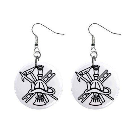 Fire Fighters  Dangle Earrings Jewelry 1 inch Buttons 12628304