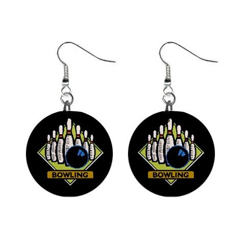 Bowling Team League #2 Dangle Earrings Jewelry 1 inch Buttons 12619768