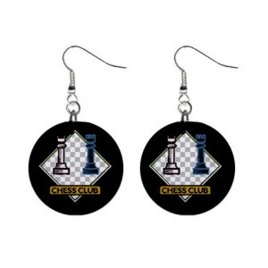 Chess Club Dangle Earrings Jewelry 1 inch Buttons 12619794