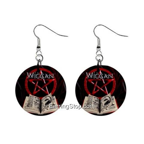 Wiccan Dangle Earrings Jewelry 1 inch Buttons 12409544