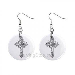 Goth Cross  Dangle Earrings Jewelry 1 inch Buttons 12479617