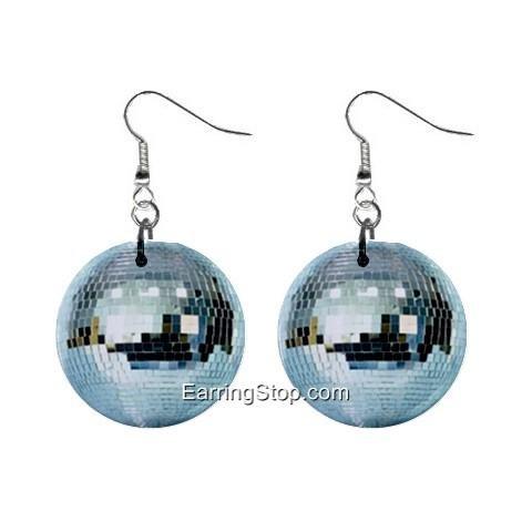 Disco Ball Dangle Earrings Jewelry 1 inch Buttons 12409496