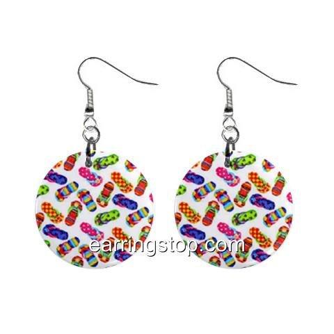Flip Flop Thongs Dangle Earrings Jewelry 1 inch Buttons 12398789