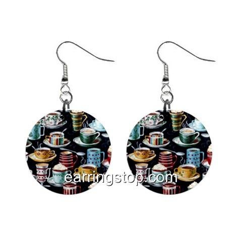 Coffee Time Dangle Earrings Jewelry 1 inch Buttons 12398778