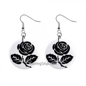 Gothic Black Rose Dangle Earrings Jewelry 1 inch Buttons 12418569