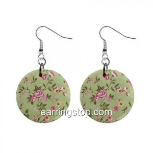 Floral Design Dangle Earrings Jewelry 1 inch Buttons 12345304