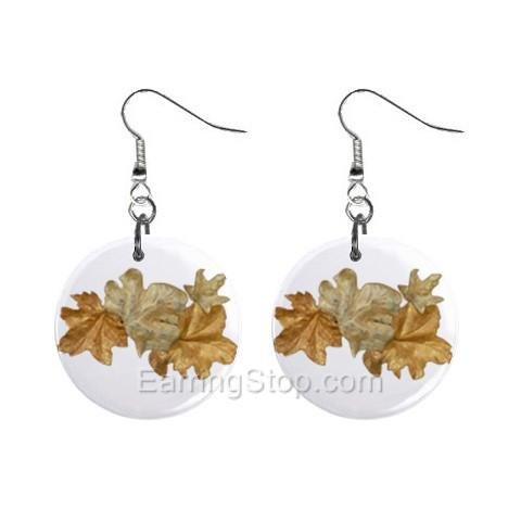 Golden Leaves  Dangle Earrings Jewelry 1 inch Buttons 12479625