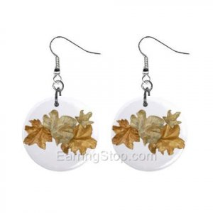Golden Leaves  Dangle Earrings Jewelry 1 inch Buttons 12479625