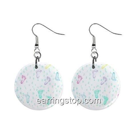 Foot Prints Dangle Earrings Jewelry 1 inch Buttons 12398789