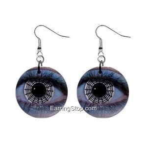 Gothic Web Eyes Dangle Earrings Jewelry 1 inch Buttons 12409465