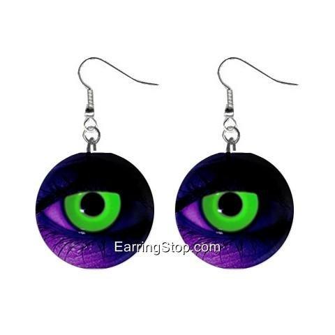 Neon Green Eyes Dangle Earrings Jewelry 1 inch Buttons 12409463