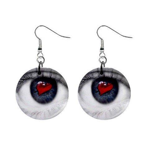Heart Eye Dangle Earrings Jewelry 1 inch Buttons 12628320