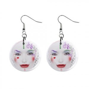 Harliquin Face Dangle Earrings Jewelry 1 inch Buttons 12310668