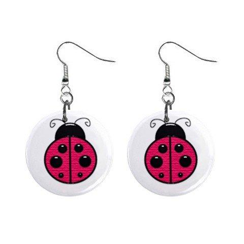 Ladybug Lady Bug  Dangle Earrings Jewelry 1 inch Buttons 12310671