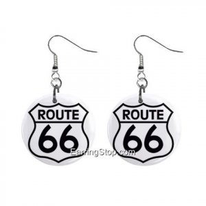 Route 66 Sign Dangle Earrings Jewelry 1 inch Buttons 12409527