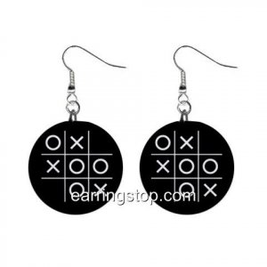 Tic Tac Toe Game Dangle Earrings Jewelry 1 inch Buttons 12334852