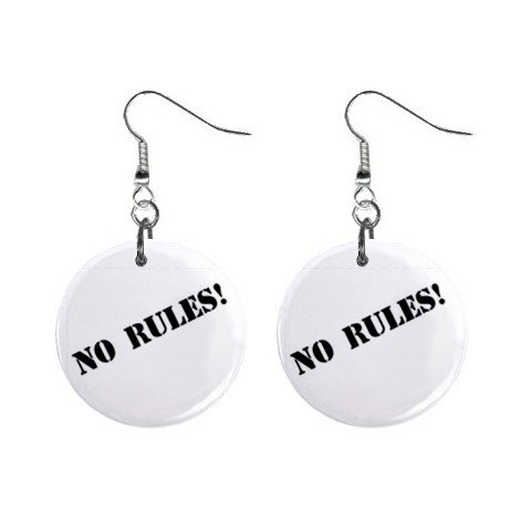 No Rules! Dangle Earrings Jewelry 1 inch Buttons 12628395