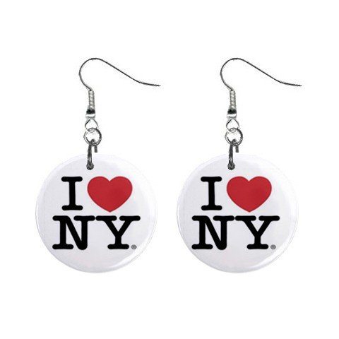 I Love NY New York Dangle Earrings Jewelry 1 inch Buttons 12628348