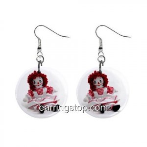 Raggedy Ann Dangle Earrings Jewelry 1 inch Buttons 12329469