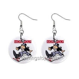 Mr Monopoly Man Uncle Penny Bags Dangle Earrings Jewelry 1 inch Buttons 12335054