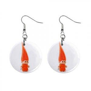 Orange Troll #2  Dangle Earrings Jewelry 1 inch Buttons 12479794