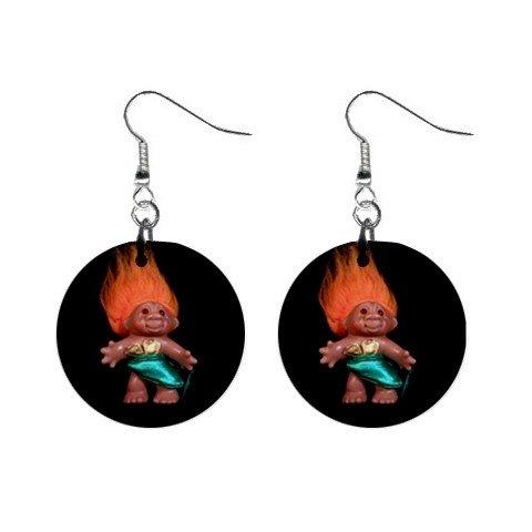 Orange Hair Troll #1 Dangle Earrings Jewelry 1 inch Buttons 12479792