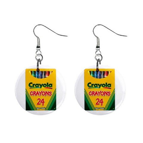Crayola Crayons #2 Dangle Earrings Jewelry 1 inch Buttons 12479730