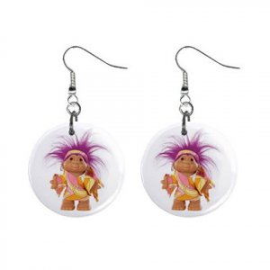 Purple Hair Troll #3 Dangle Earrings Jewelry 1 inch Buttons 12479795