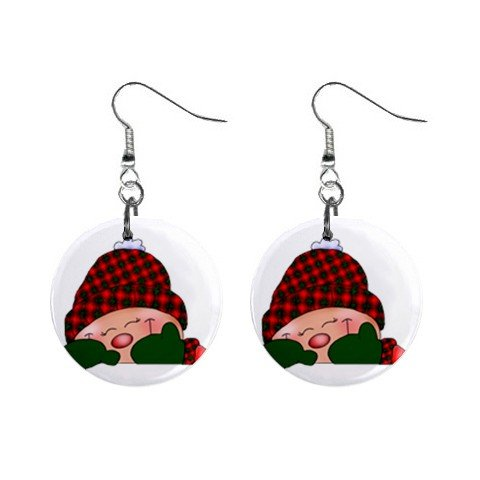 Christmas Elf #1 Dangle Earrings Jewelry 1 inch Buttons 12310649