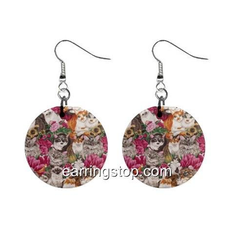 Cats Kitty Cat Dangle Earrings Jewelry 1 inch Buttons 12345300