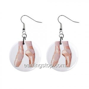 Pointe Ballet Slippers Dance Shoes #2 Dangle Earrings Jewelry 1 inch Buttons 12398775