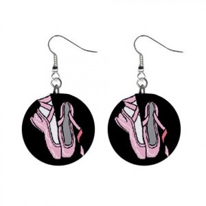 Ballet Slippers Shoes Pointe Dance #4 Dangle Earrings Jewelry 1 inch Buttons 12619750