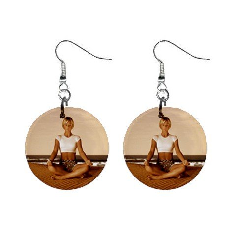 Yoga Lady #4 Dangle Earrings Jewelry 1 inch Buttons 12620319