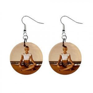 Yoga Lady #4 Dangle Earrings Jewelry 1 inch Buttons 12620319
