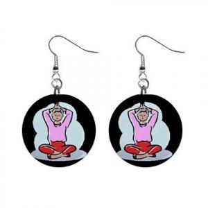 Yoga Lady #3 Dangle Earrings Jewelry 1 inch Buttons 12620090