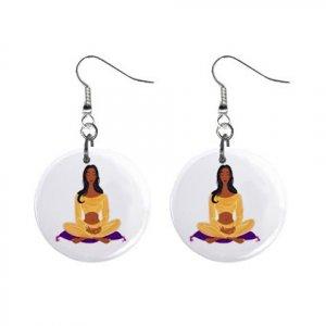 Yoga Lady #2 Dangle Earrings Jewelry 1 inch Buttons 12619875