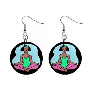 Yoga Lady #1 Dangle Earrings Jewelry 1 inch Buttons 12619858